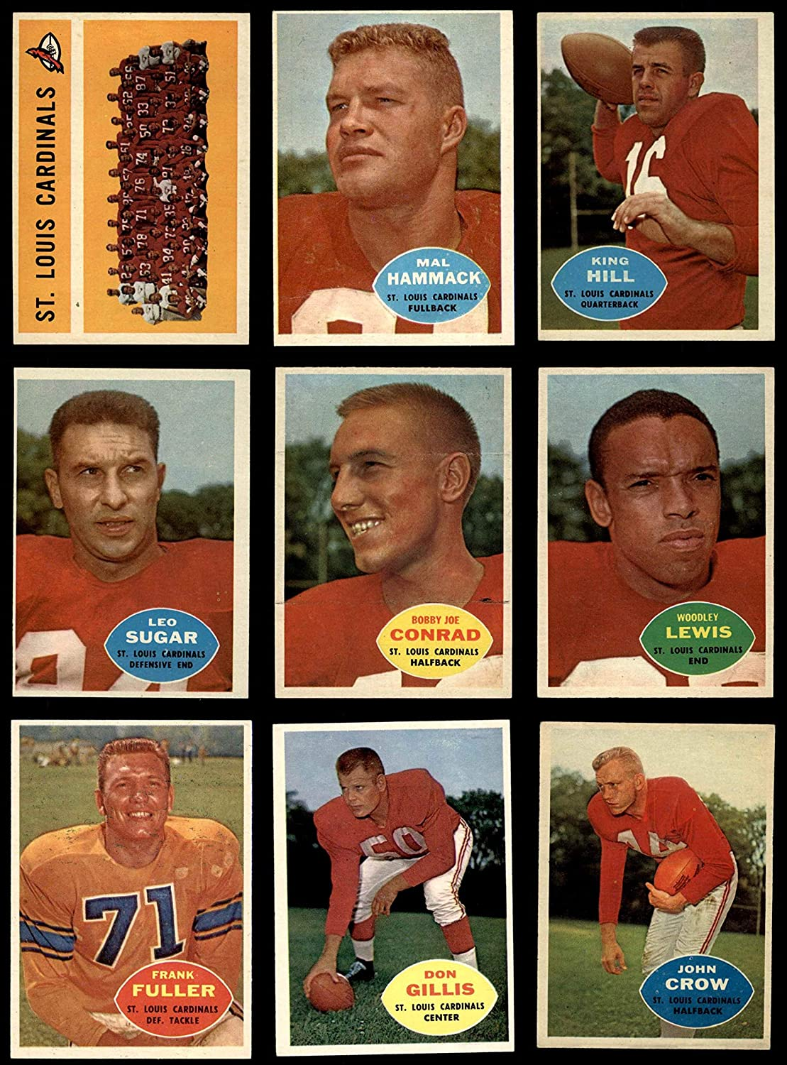 1960 Topps St. Louis Cardinals Football Team Set St. Louis Cardinals-FB (Baseball Set) Dean's Cards 5.5 - EX+ Cardinals-FB 91gXoD9A-kL