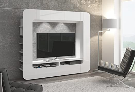 WALLY Wall Unit TV Stand Living Room Furniture Entertainment Unit Cabinets  Shelves (white LED Illumination Part 62