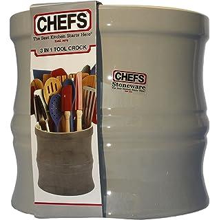 Kitchen Tools Organizer Set   Gray Stoneware Utensil Crock With Internal  Divider And Non Skid
