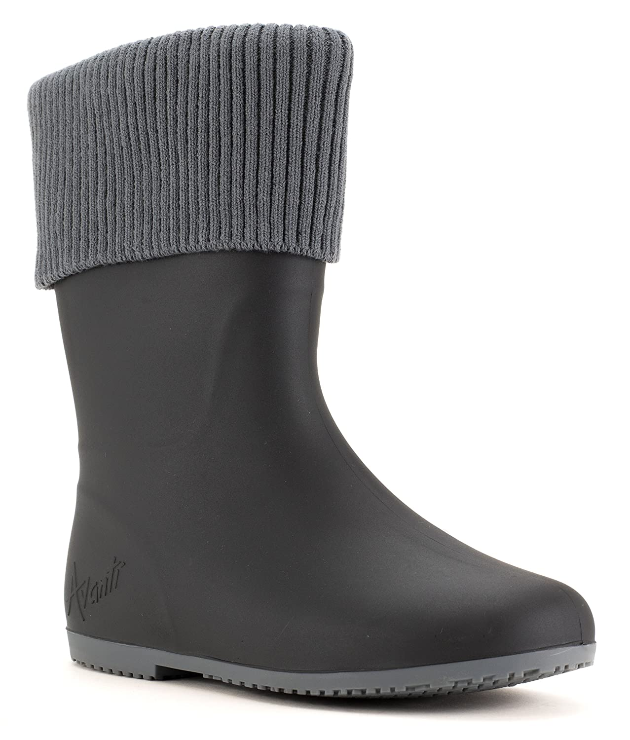 Avanti Storm Rain Boot Waterproof With Removable Knitted Cuff Monogram-Able Foldable B078RRM99Z 6 B(M) US|Black and Grey