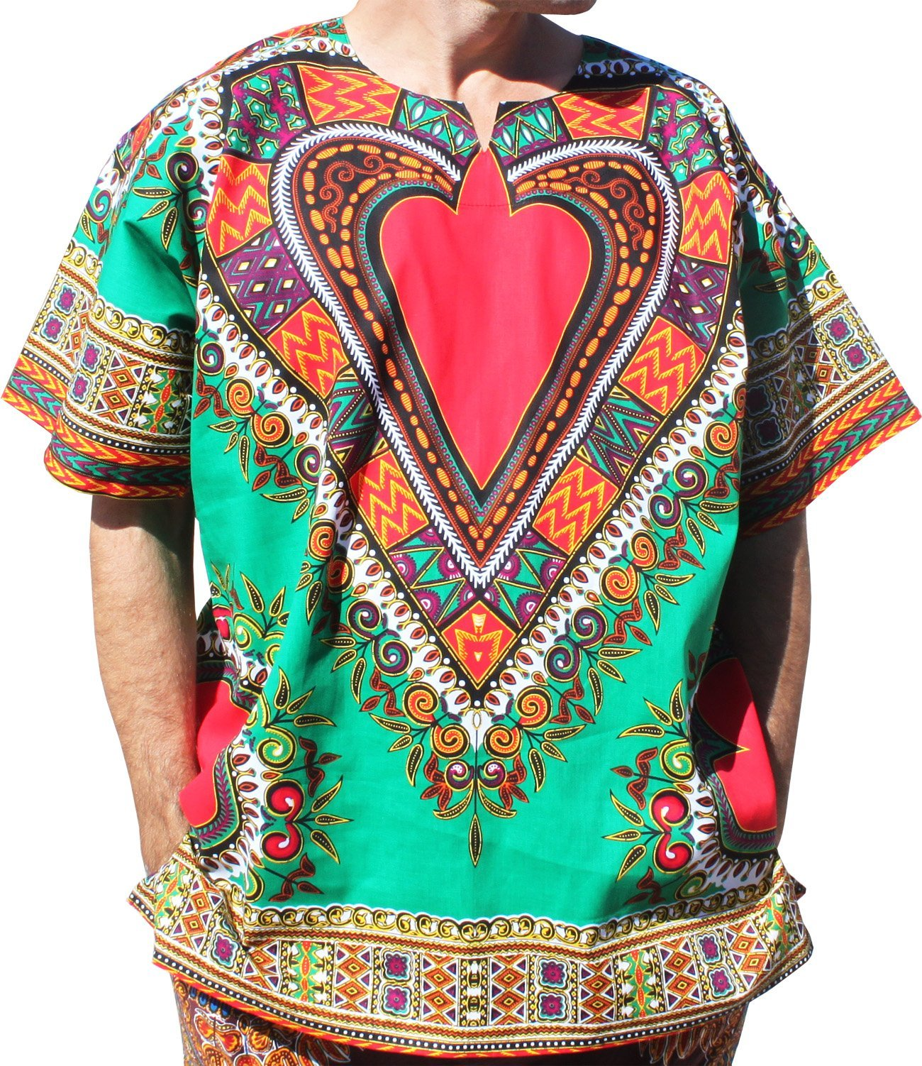 RaanPahMuang Bright Heart Cotton Africa Dashiki Plus Sized Shirt Plain Front, XXXXXXX-Large, Green by RaanPahMuang