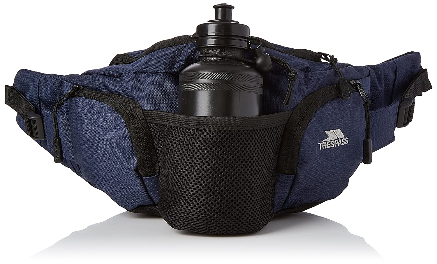 Trespass Vasp, Navy Blue, Adjustable 5L Bumbag/Running Belt with Bottle Holders & Bottles, Blue UUACBAF20003_NBLEACH