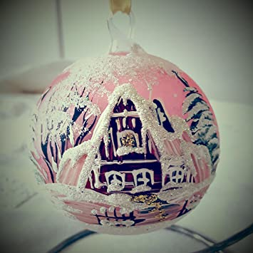 Christbaumkugeln Polen.Amazon De 3er Set Christbaumkugeln Glas Ornamente Winter