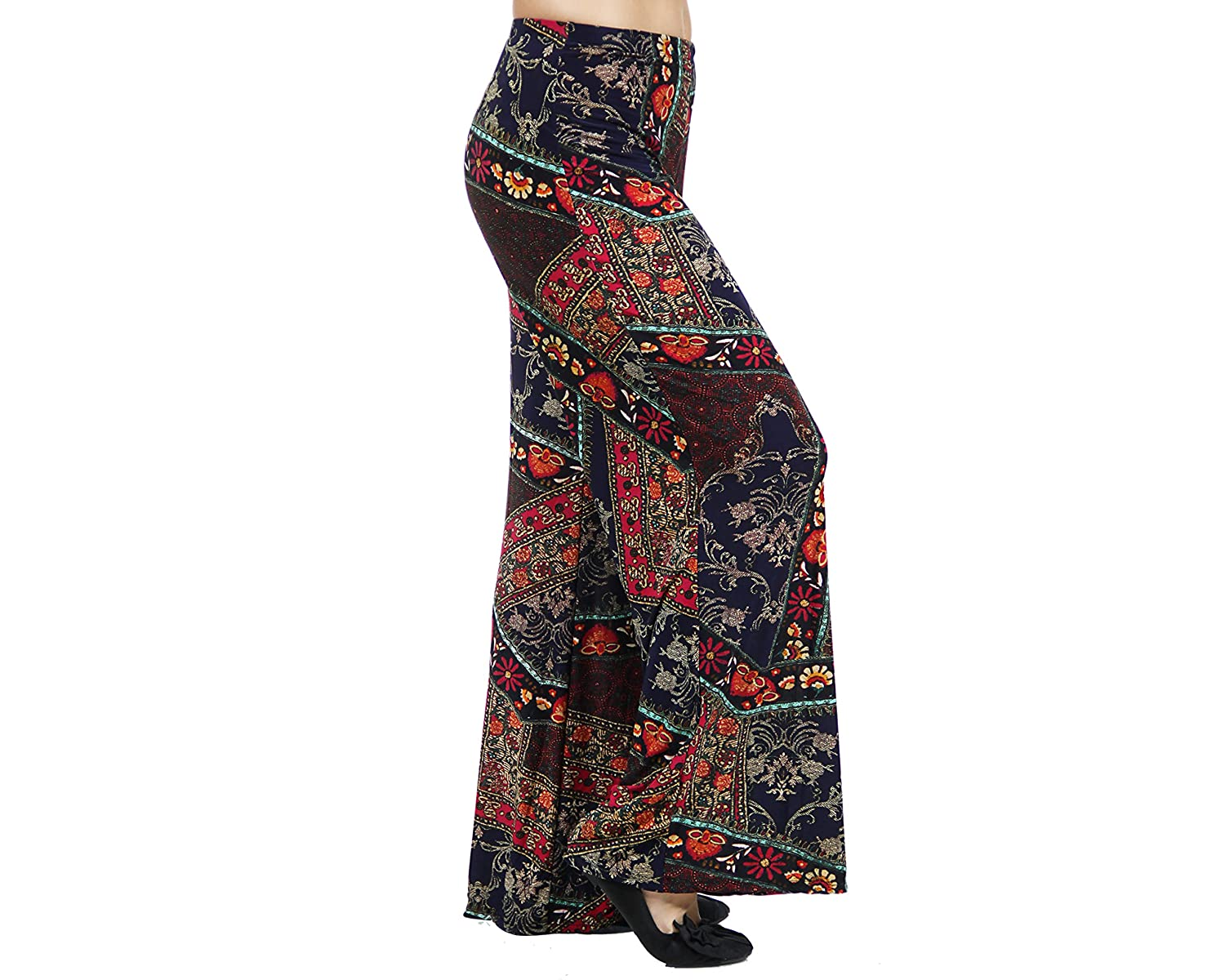24/7 Comfort Apparel Women's Abstract Quilt Floral Printed Palazzo Pants 508PRC