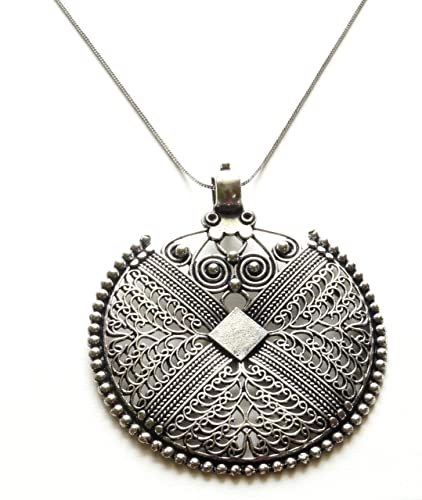 Amazon sansar india german silver big round pendant indian sansar india german silver big round pendant indian necklace jewelry for girls and women mozeypictures Choice Image