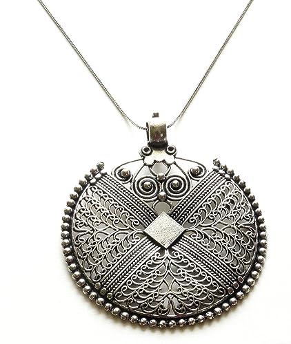 Sansar india german silver big round pendant necklace for girls and sansar india german silver big round pendant necklace for girls and women mozeypictures Gallery