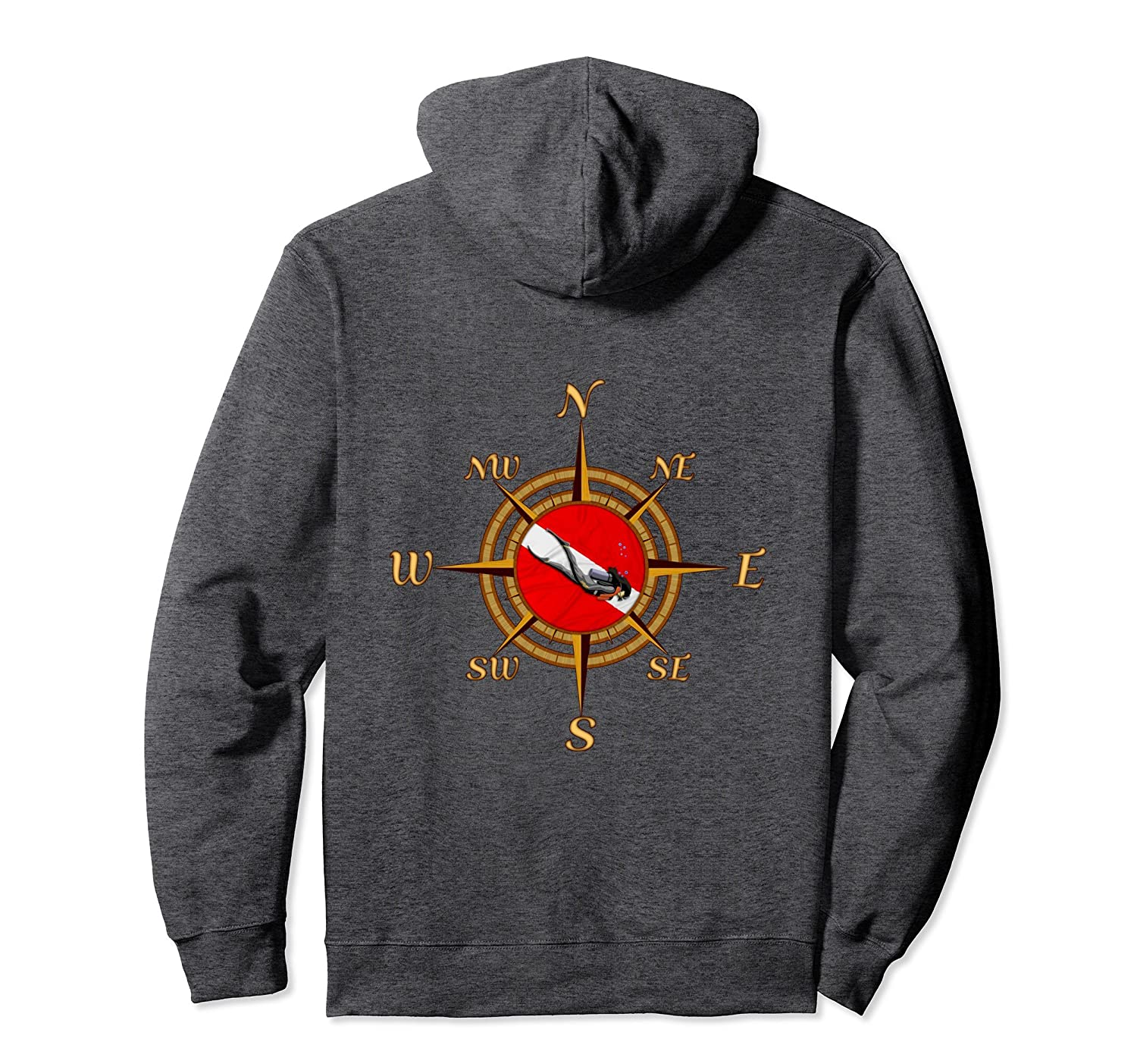 SCUBA Diver And Dive Compass Pullover Hoodie-Samdetee