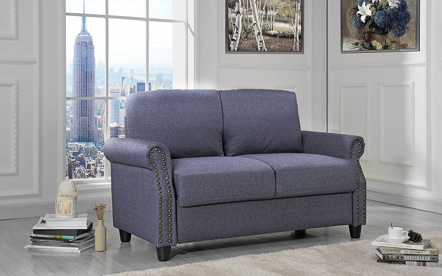 Sofamania Classic Living Room Linen Loveseat with Nailhead Trim and Storage Space (Blue) EXP89-2S