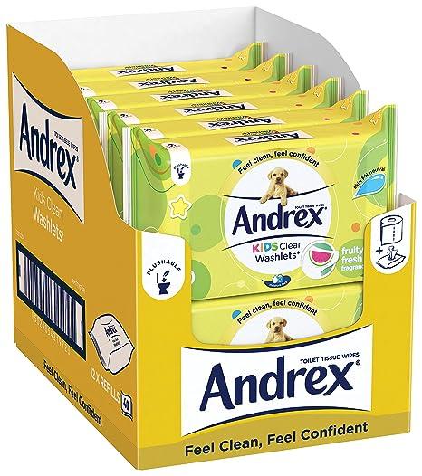 Papel higiénico húmedo desechable para inodoro para niños Andrex, pack de 12 paquetes.