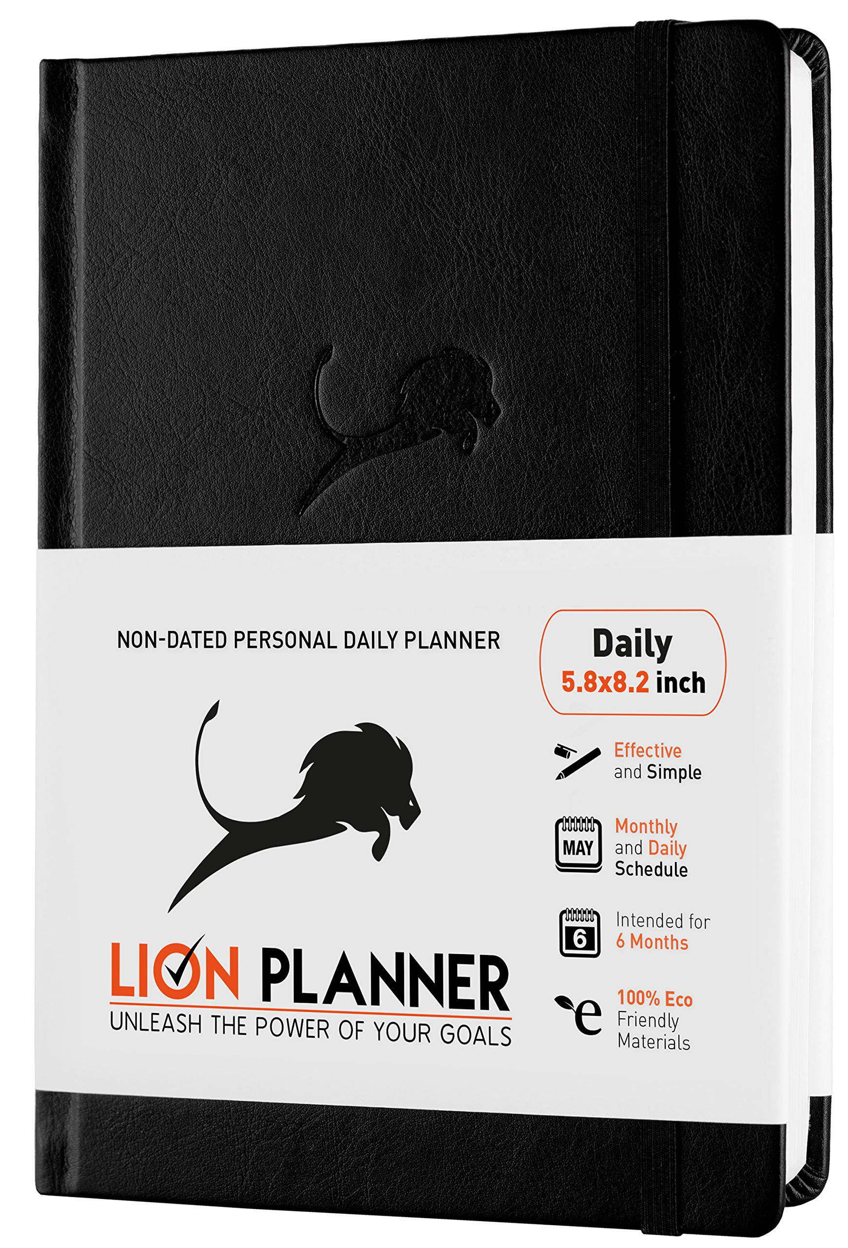 Daily Planner, Calendar and Gratitude Journal to Increase Productivity & Happiness, High Performance Organizer Planner | Vegan Leather Hardcover, Undated 6-Months, 24-Hour Schedule Planner (Black) by Power Place