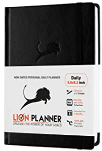 Daily Planner 2019-2020 Calendar and Gratitude Journal to Increase Productivity & Happiness, High Performance Organizer Planner | Vegan Leather Hardcover, Undated 6-Months, 24-Hour Schedule Planner