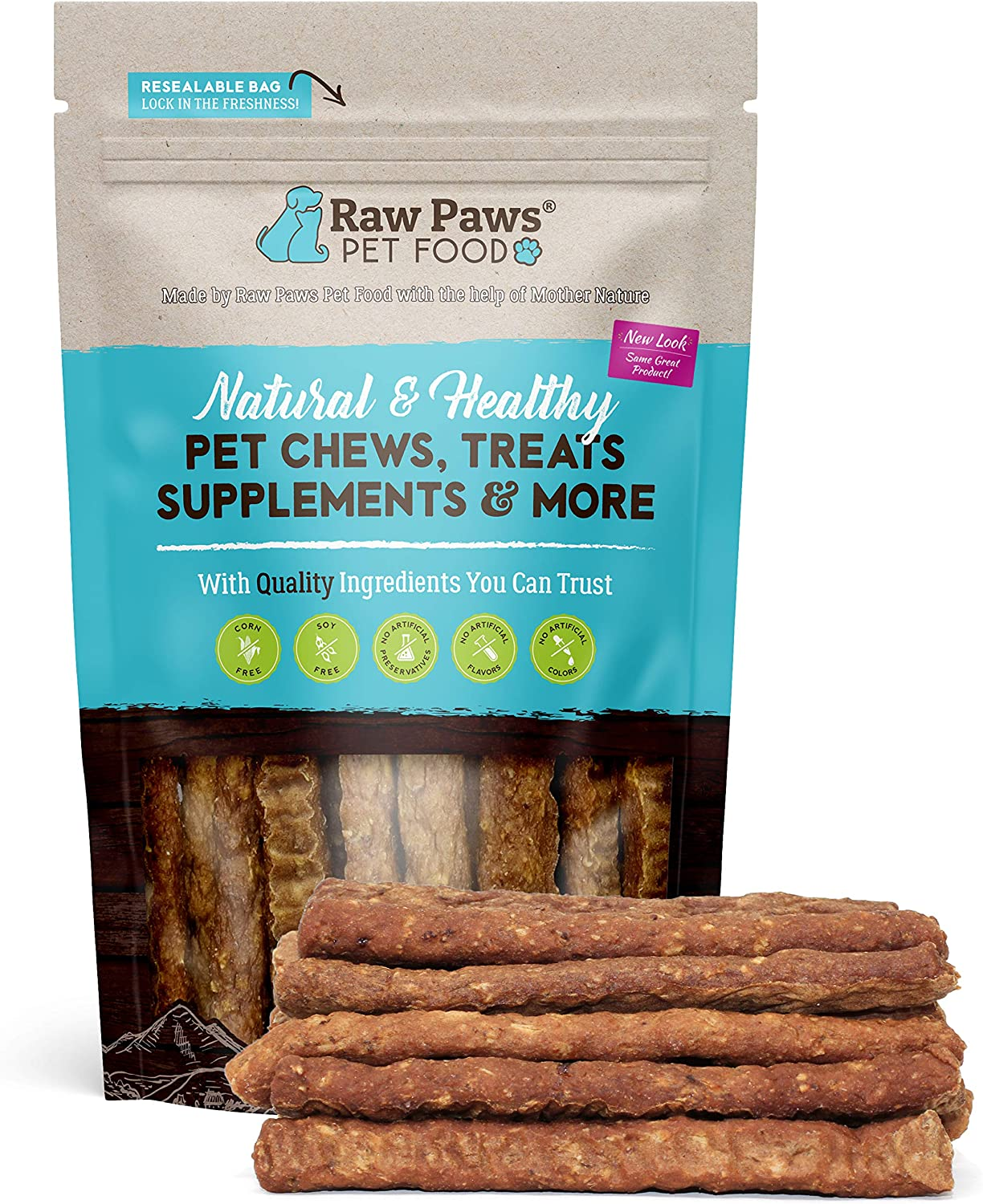 Raw Paws Chicken Sausage Sticks for Dogs & Cats, 6-oz - Made in USA - Soft Chicken Dog Treats Grain Free - Non Corn, Wheat or Soy - Natural Chicken Dog Jerky Sticks - Chewy Chicken Jerky for Dogs