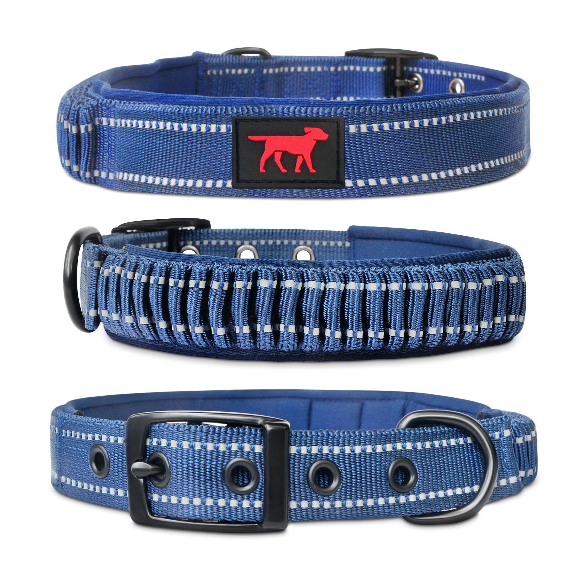Heavy Duty Dog Collar With Handle | Ballistic Nylon Heavy Duty Collar | Padded Reflective Dog Collar With Adjustable Stainless Steel Hardware | Easy Sizing for All Breeds (Extra Large, Midnight Blue)