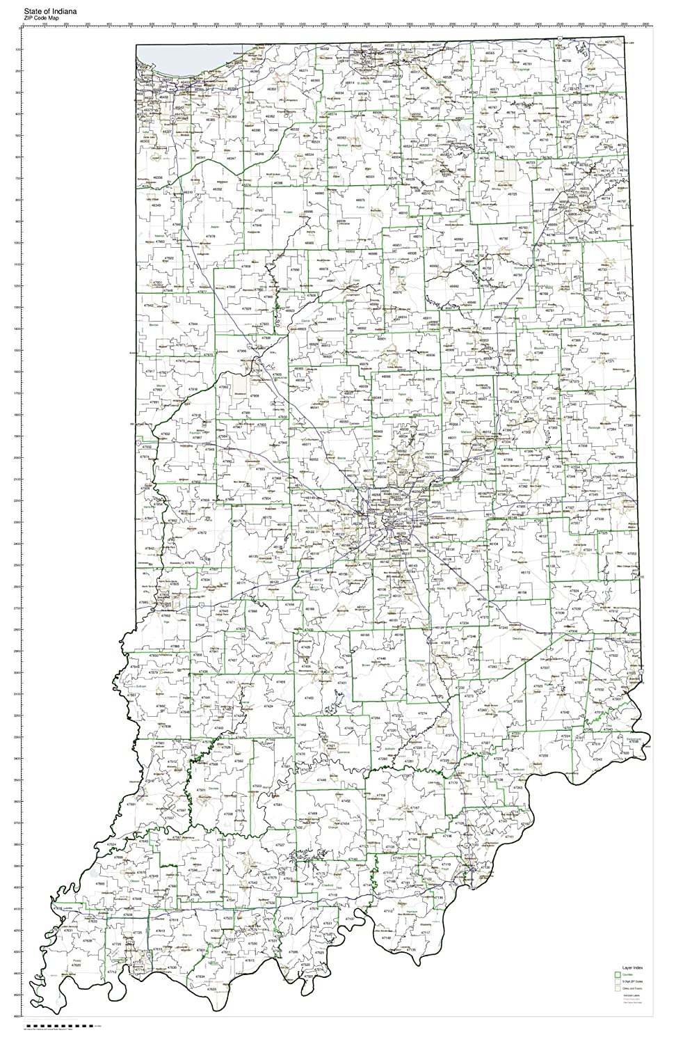 Amazon Com Zip Code Map State Of Indiana Laminated Home Kitchen