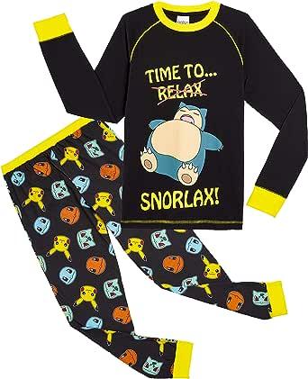 Pokèmon Pijama Niño Diseño con Snorlax | Pijama Infantil Invierno | Pijama Manga Larga Niño De Pikachu | Pijama para Niños De Dos Piezas | Ropa De Dormir para Niños