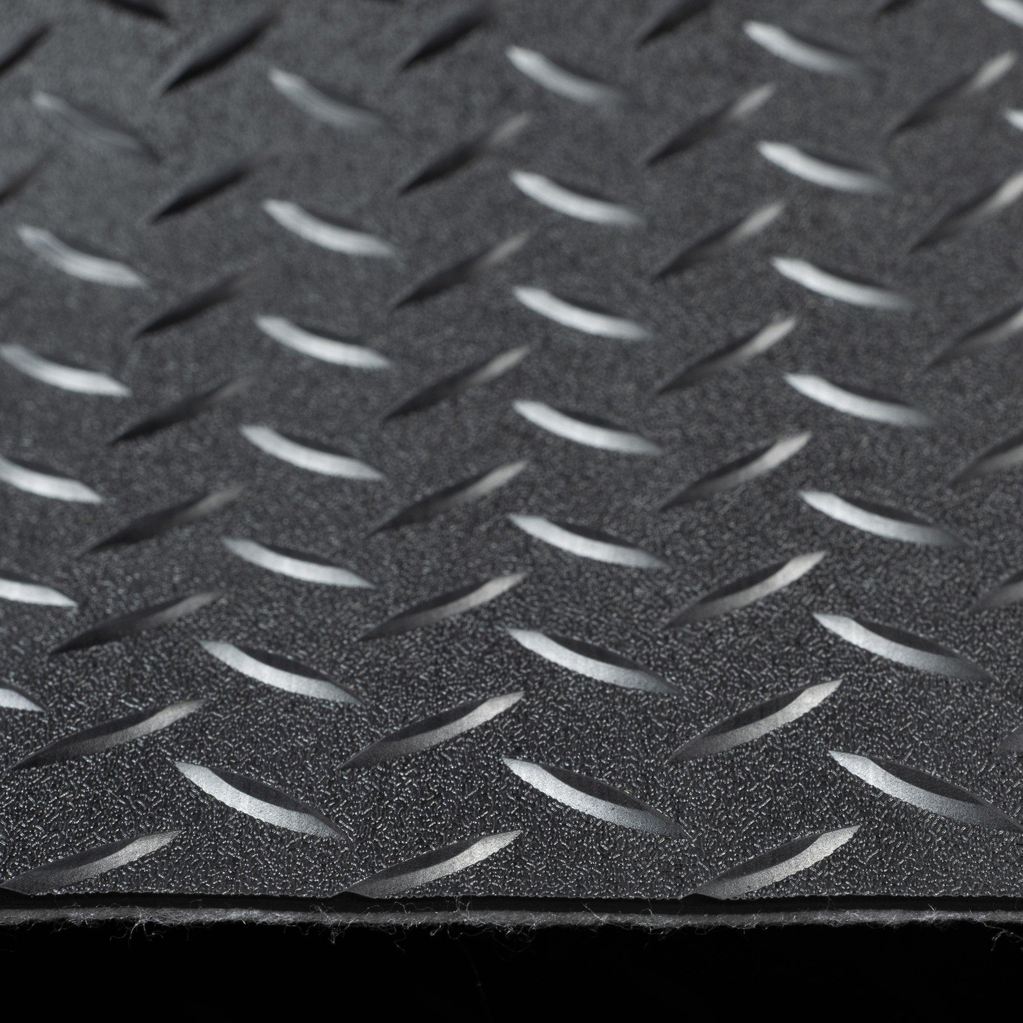 RV Trailer Diamond Plate Pattern Flooring | Black | 8' 2'' Wide | Rubber Flooring | Garage Flooring | Gym Flooring | Toy Hauler Flooring | Car Show Trailer Flooring (Black, 10') by RecPro (Image #1)