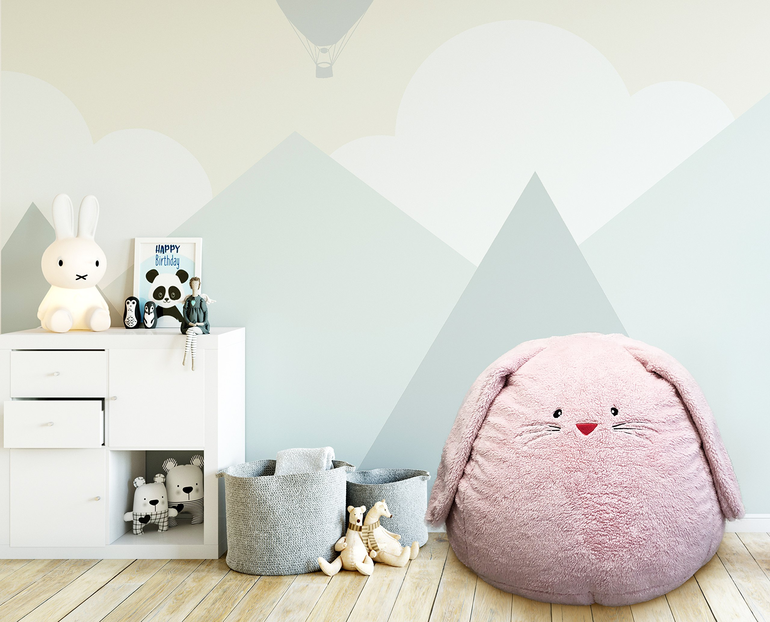 Beanbag For Kids: Soft And Comfortable Stuffed Bean Bag Chair For The Nursery, Cute Animal Design For Boys And Girls, Lux Plush Fabric, For Children Of All Ages 30'' x 30'' x 20'' (Sherpa Bunny)