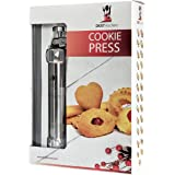 Cookie Press Kit, Includes Storage Case with 25 Seasonal Discs & 8 Icing Tips, Plus FREE Recipes, Helpful Tips and How To Use Videos. DKST Kitchen's Highest Quality Spritz Dough Gun Biscuit Maker