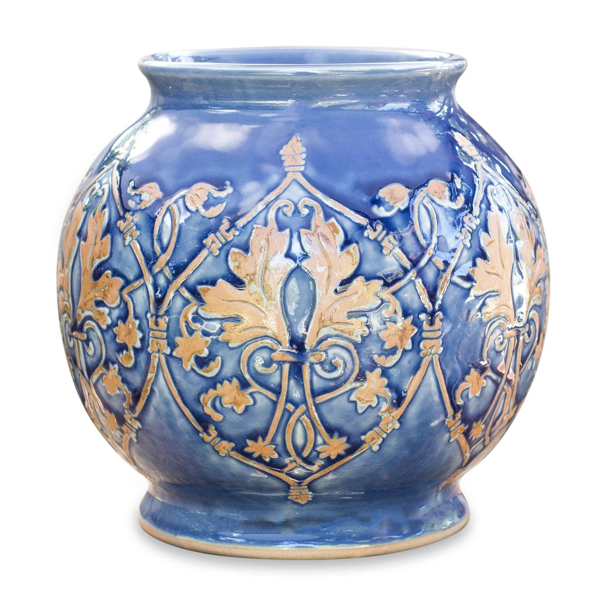 NOVICA Celadon Ceramic Vase, Blue 'Thai Sapphire' by NOVICA