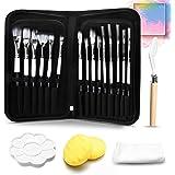 GORNORVA 20 PCS Acrylic Paint Brush Set-15 Different Artist Paint Brushes 1 Palette Knife 1 Sponge 1 Wipe Cloth 1…