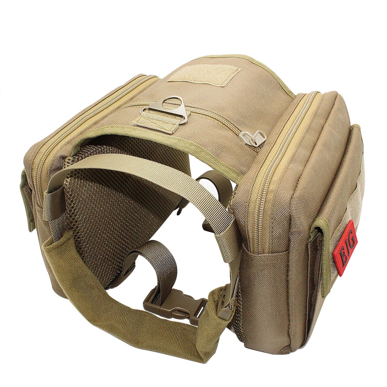 EJG Dog Harness Backpack Saddle Bag with Molle System- Durable Lightweight - Perfect for Hound Travel Training Camping Hiking - for Medium & Large Dog EJG®