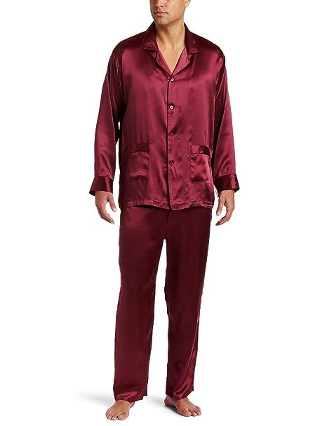 intimo - Albornoz de Seda Azul Marino para Hombre Rojo Rojo (Maroon) Small