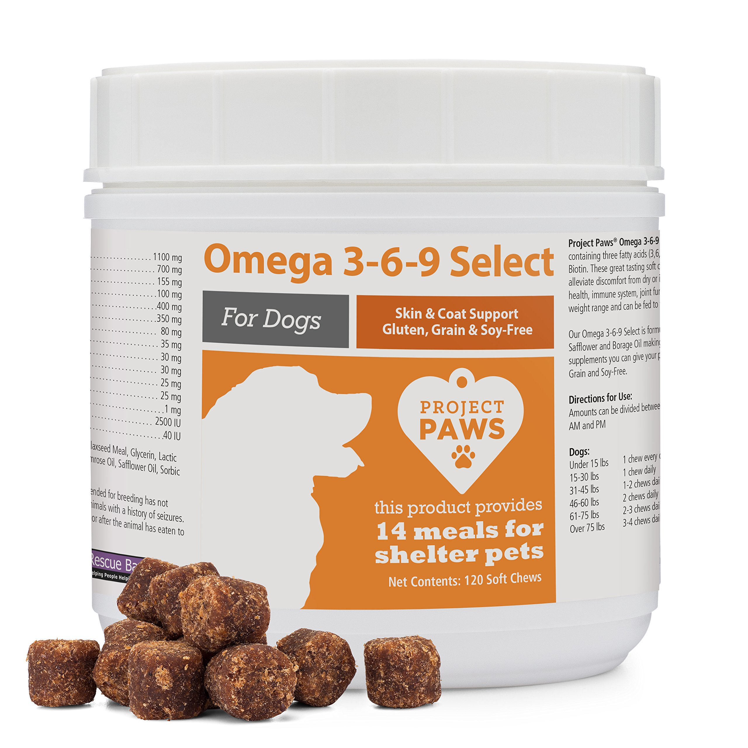 Project Paws Omega 3-6-9 Select Soft Chews 120 Count by Project Paws