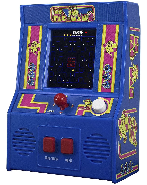 Basic Fun! 09614 Ms Pac-Man Mini Arcade Spiel (4C Szeneen), Mehrfarbig
