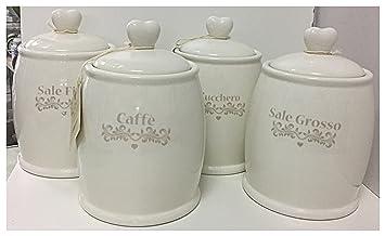 Set 4 barattoli ceramica crema avorio caffè zucchero sale grosso ...