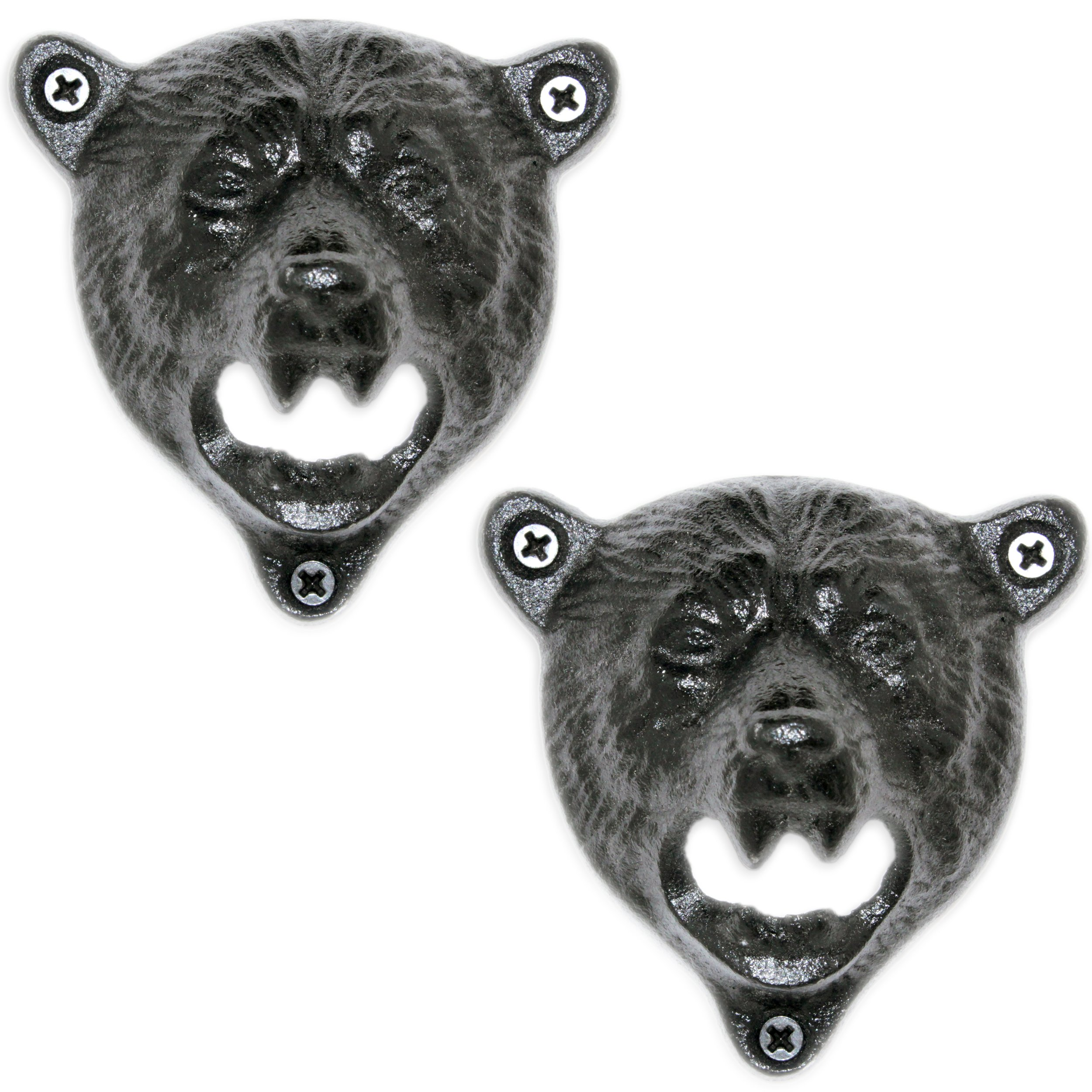 2 Grizzly Bear Wall Mount Beer Bottle Cap Openers   Durable Cast Iron and Black Vintage Finish