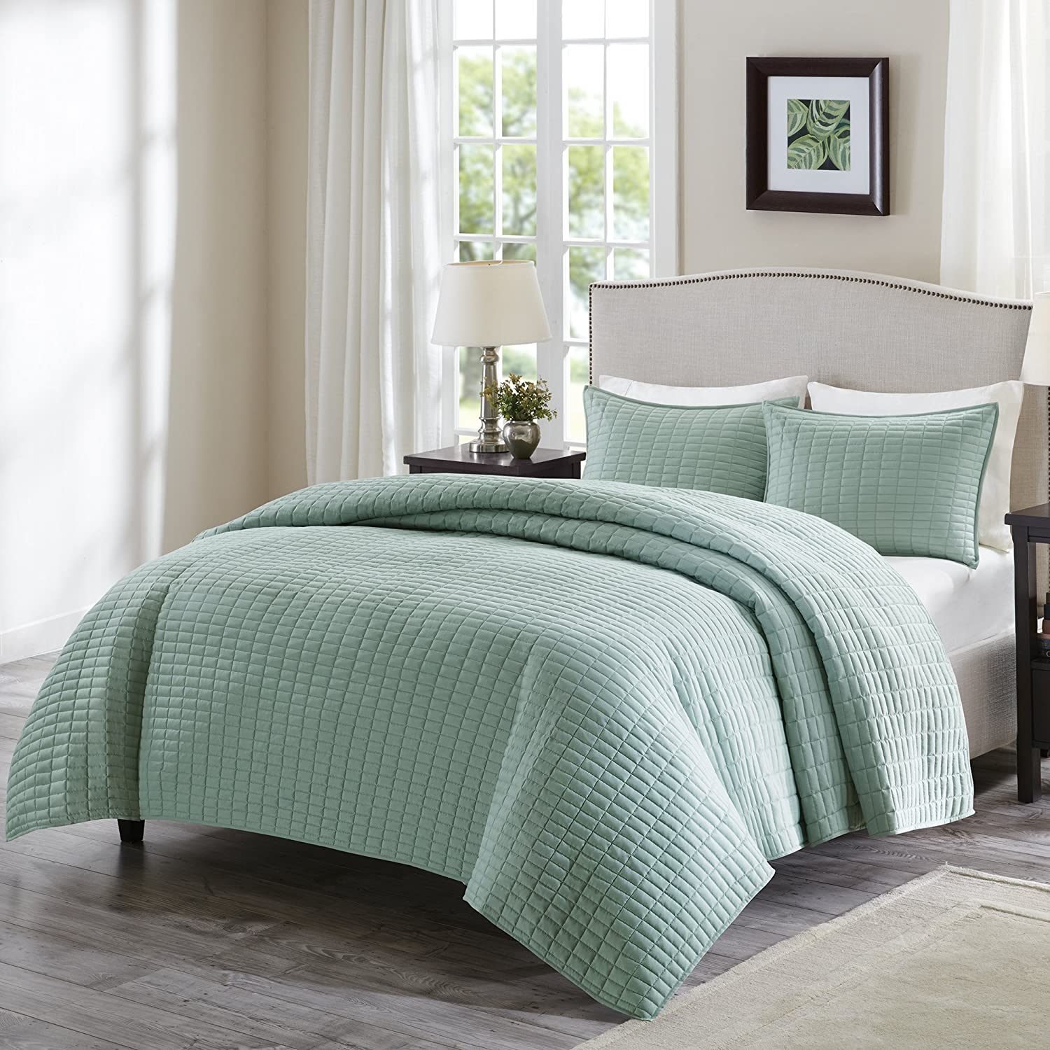 Comfort Spaces - Kienna Quilt Mini Set - 3 Piece - Sea foam - Stitched Quilt Pattern  Queen size