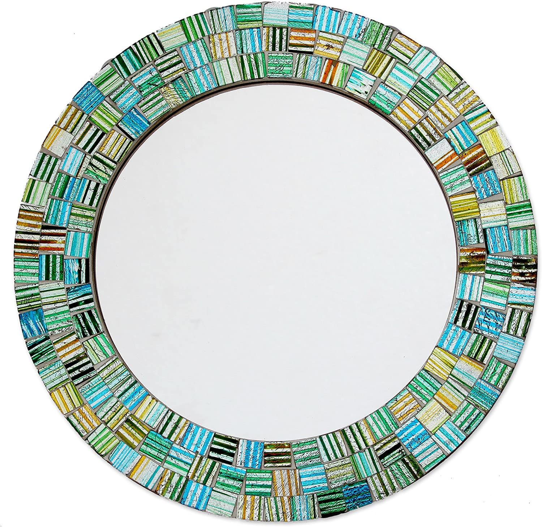 NOVICA Green and Teal Glass Mosaic Wood Framed Round Wall Mounted Mirror, Aqua Trellis'
