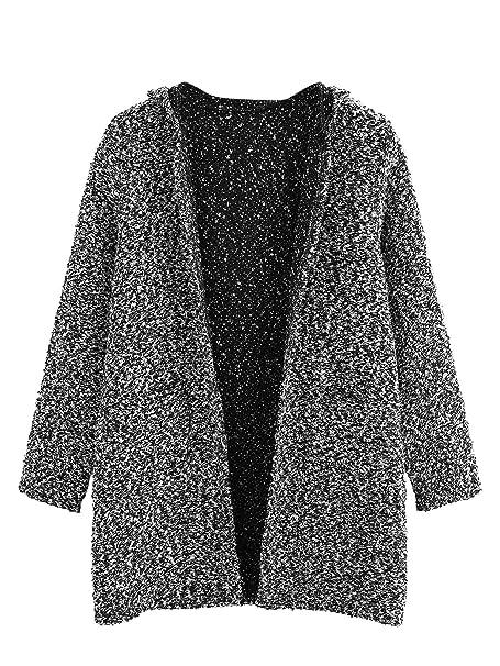 SOLY HUX Mujer Cárdigan de Punto Tweed sin Cierre Manga Larga Chaqueta de Punto Jersey de Punto con Bolsillos: Amazon.es: Ropa y accesorios
