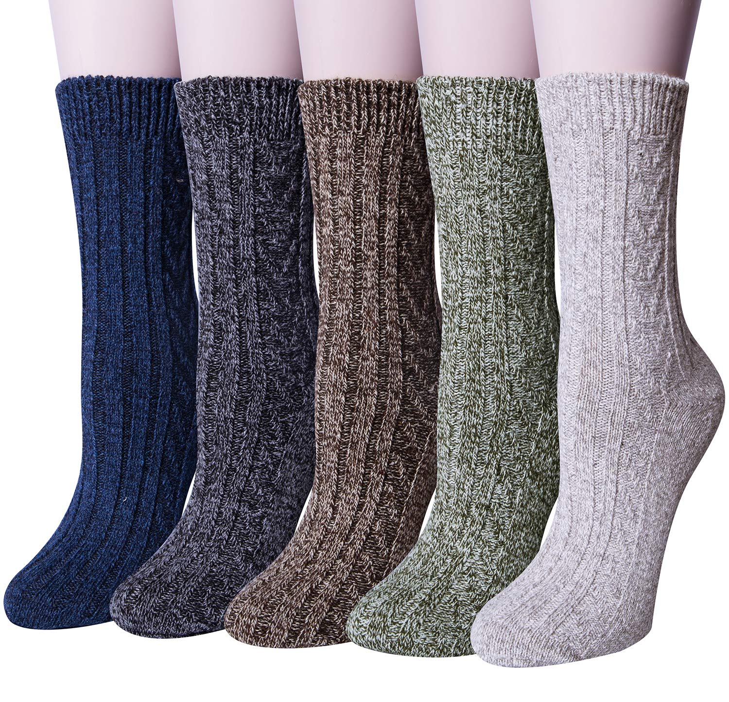 Pack of 5 Womens Winter Socks Warm Thick Knit Wool Soft Vintage