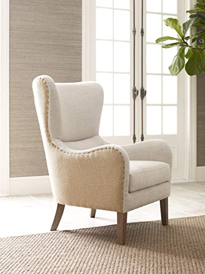 Genial Elle Decor Mid Century Modern Wingback Chair In French Two Toned Beige