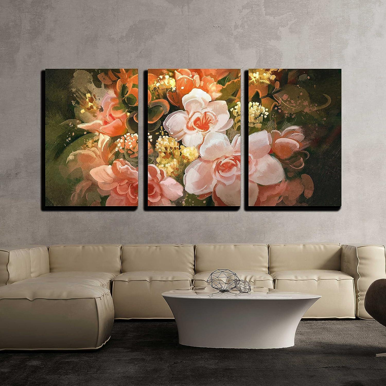 Illustration beautiful flowers color blooming illustration digital illustration beautiful flowers color blooming illustration digital painting x3 panels izmirmasajfo