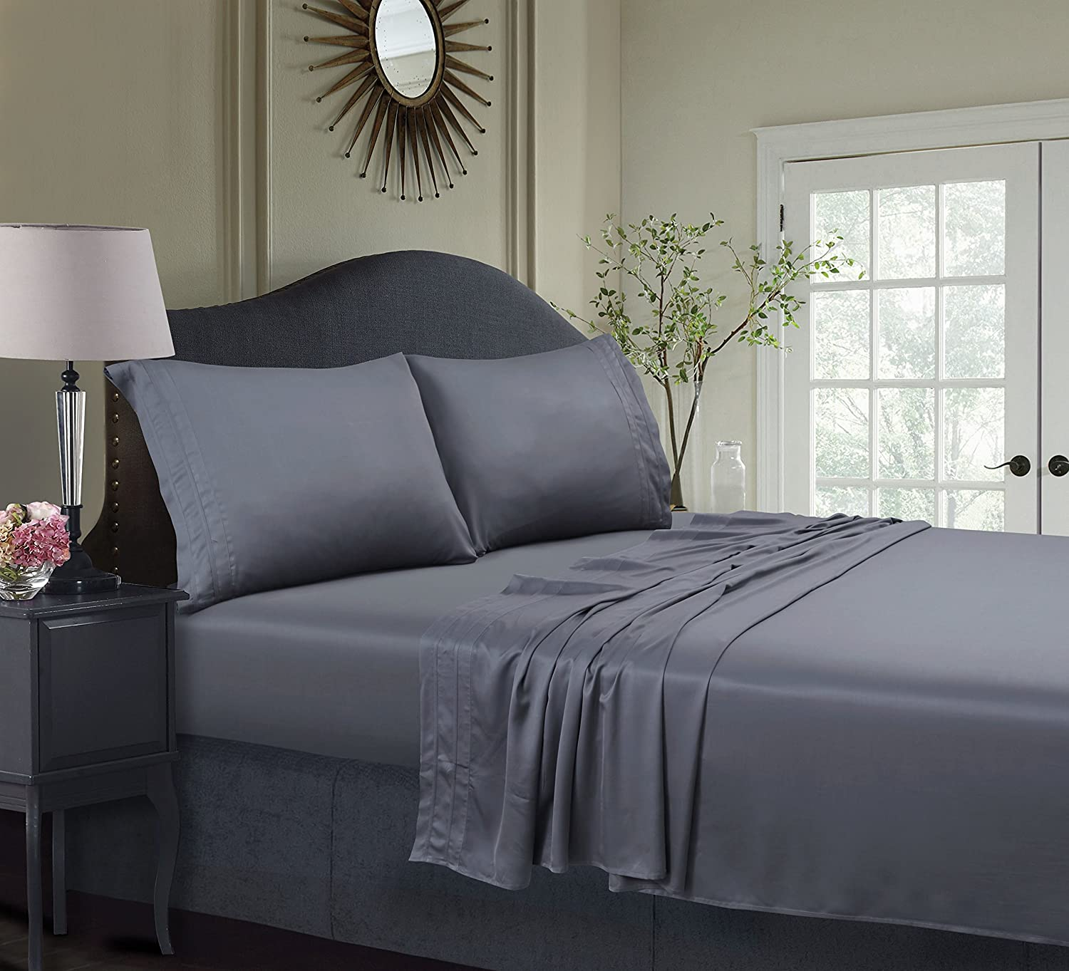 Tribeca Living BAMB300SSTWXST 300 TC Rayon from Bamboo Deep Pocket Sheet Set Twin XL Steel Grey