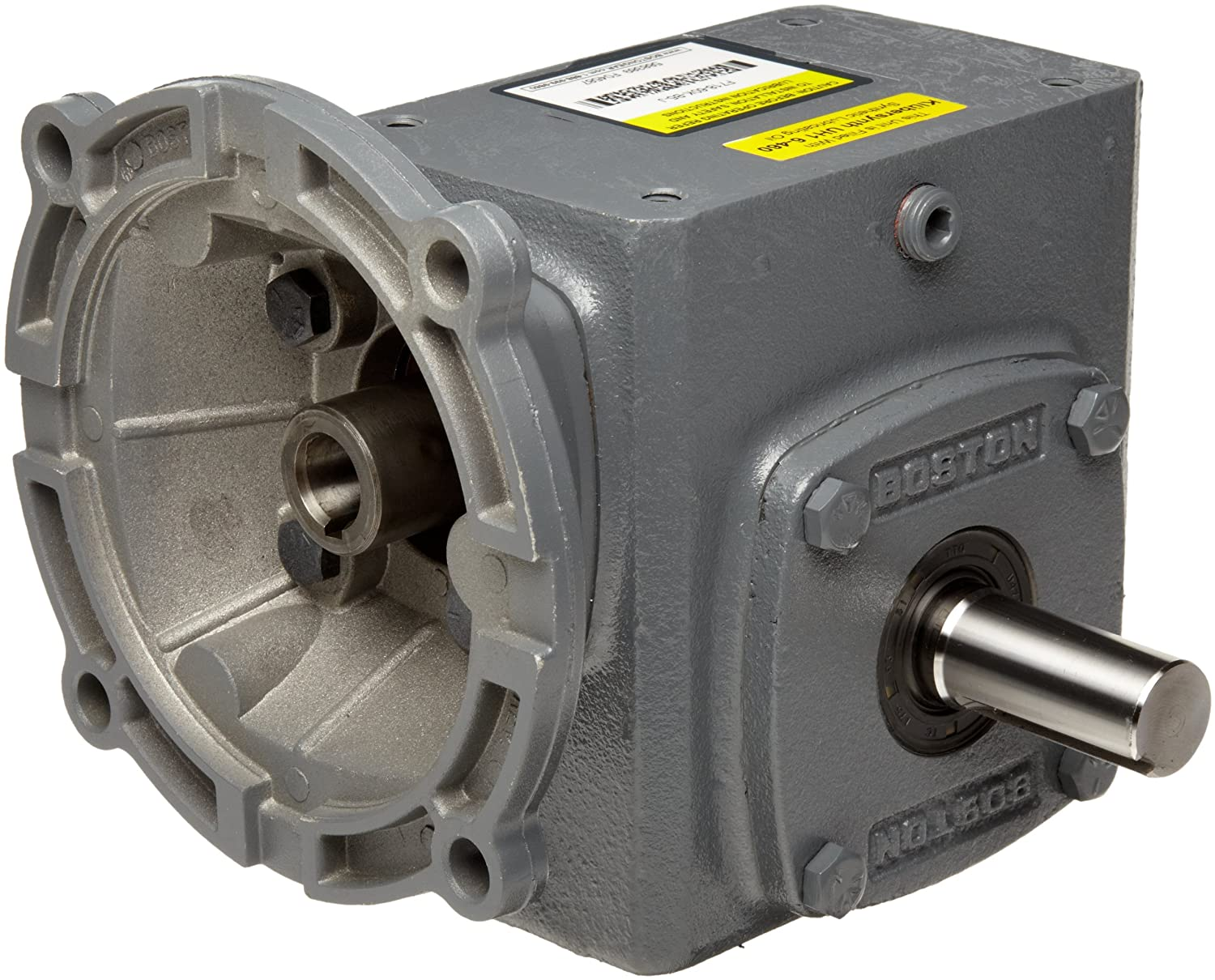 """Boston Gear F71840KB5J Right Angle Gearbox, NEMA 56C Flange Input, Left Output, 40:1 Ratio, 1.75"""" Center Distance, .57 HP and 609 in-lbs Output Torque at 1750 RPM"""