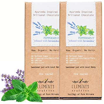 Elements Truffles Peppermint Bar with Lavender Infusion - Dairy Free Chocolate Bar - Gluten Free,