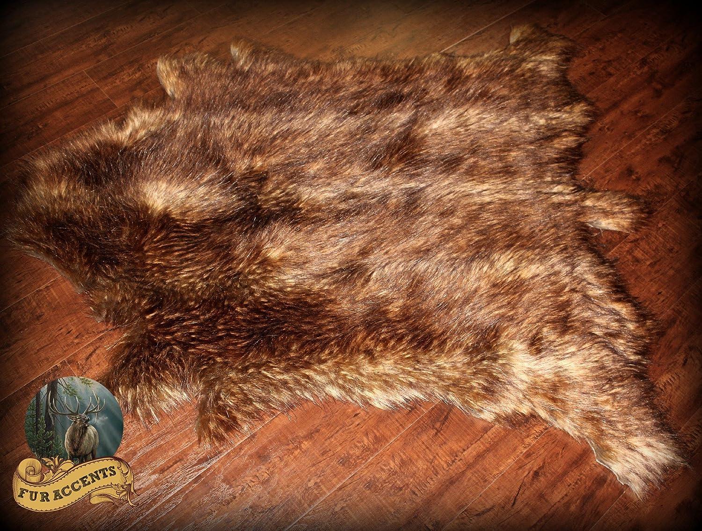 Amazon.com: Fur Accents Faux Deer Skin Hide Pelt Rug / Luxury Faux Fur /  Sheepskin Bear Skin Accent Rug: Home U0026 Kitchen