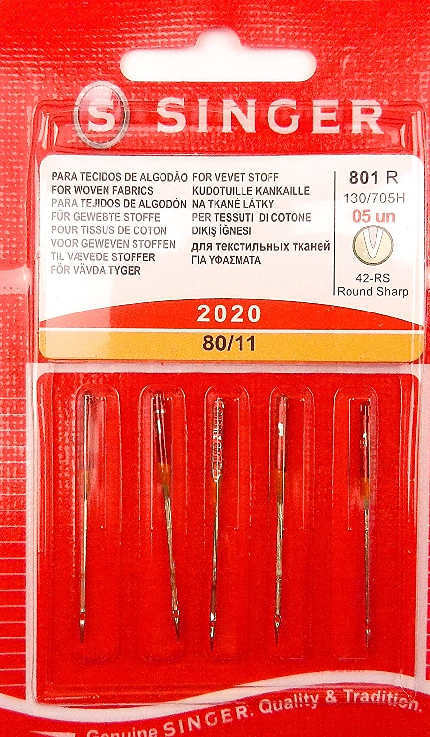 5 Original Singer Sewing Machines Needles 2020 size 80/11 for woven fabrics 130/705