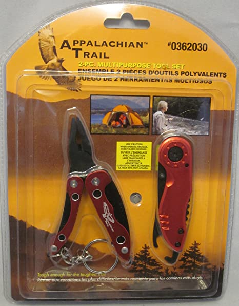 Appalachian Trail 2 Pc Multipurpose Tool Set Red #0362030 Pliers Knife Light - - Amazon.com