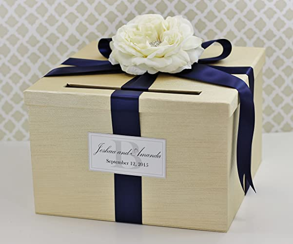 Amazon.com: Wedding Card Money Holder Box Champagne Gold and Navy ...