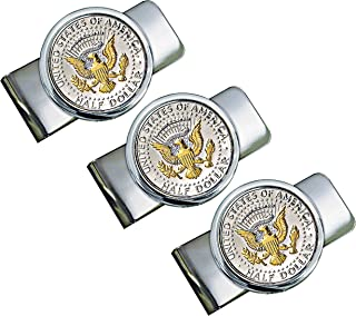 product image for Silver-Layered Presidential Money Clip - Elegant American Coin Treasures JFK Half Dollar Gold Tone Coins for Cash and Bills | Bundle of Three | Comes with Certificate of Authenticity