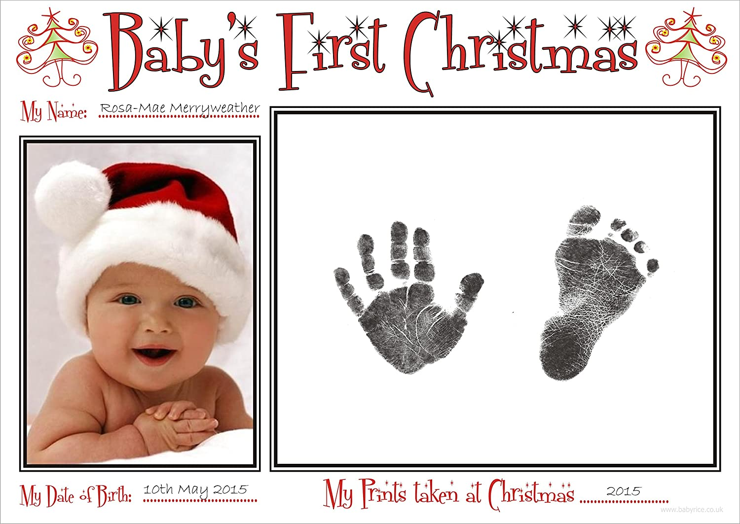 BabyRice New Baby's First Christmas Handprint and Footprint Kit/Boy Girl Unisex Babys Prints