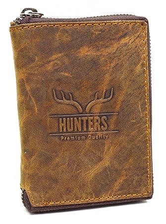 ac60efddb5309 flevado Hunter Portemonnaie Geldbörse Herren Geldbeutel Büffel Rindleder  Hochformat mit Rundum Reißverschluss