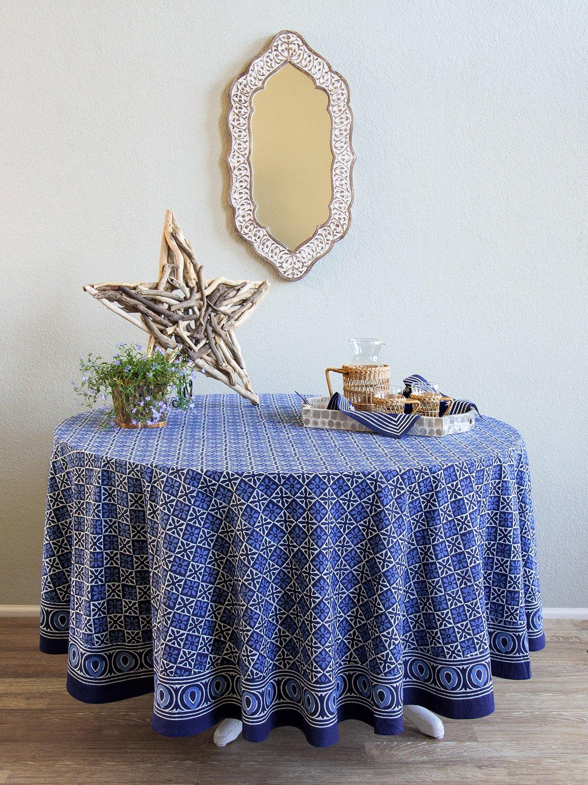 Starry Nights ~ Designer Batik Blue Round India Tablecloth 70 Round