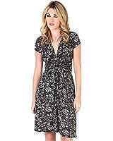 KRISP Women's Fashion Cap Sleeves V-Neck Floral Pattern Summer Dress US 4-14