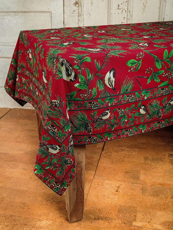 April Cornell Holdiay Tablecloth Chickadee 100/% Cotton 60 x 120