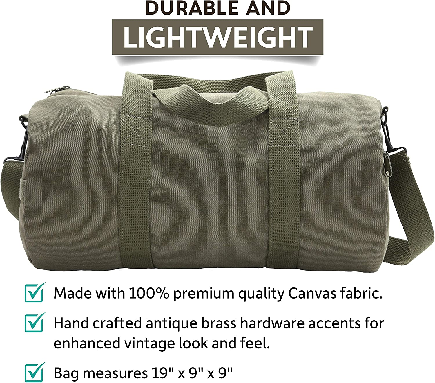 Large AK47 Army Sport Heavyweight Canvas Duffel Bag in Olive /& Black